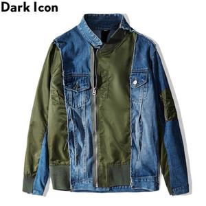 Koyu Patchwork Düzensiz Ön Fermuar Denim Ceket Erkekler Sokak Modası Erkek Jean Ceket Streetwear Giyim
