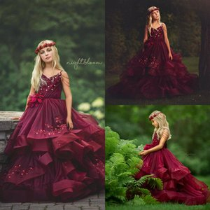 Burgundy Organza Flower Girls Dresses 2020 Tiered Skirts Tulle Appliqued Lace little Princess Communion Birthday Party Dress