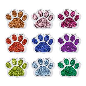 20 unids / lote 8 mm impresión de la pata del perro impresión colorida diapositiva DIY encanto para 8mm pulsera cinturones pulsera