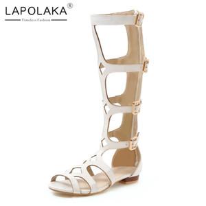 Lapolaka Sıcak Satış 2019 Yeni Gelenler Tıknaz Düşük Topuklu Yaz Çizmeler Kadın Ayakkabı Fermuar Orta Buzağı Çizmeler Kadın Ayakkabı Kadın