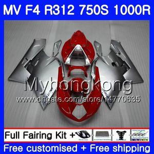 차체 용 MV Agusta F4 R312 750S 1000 R 750 1000CC 05 06 키트 320HM.0 1000R 312 1078 1 + 1 MA MV F4 05 06 2005 2006 페어링 핫 레드 은빛