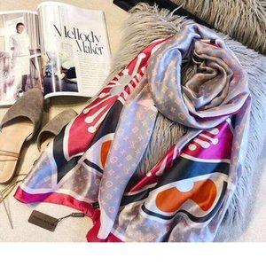 pañuelos de seda de diseño de lujo de las señoras de moda de diseño imprimen grandes pañuelos de seda del mantón de 4 colores disponibles 180 * 90cm 2019