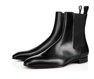 Sıcak satış-Kalite Kırmızı Alt Roadie Daire Erkekler Bilek Boots Tasarım Rahat Gerçek Deri Mükemmel Parti Elbise Düğün Yürüyüş EU38-47