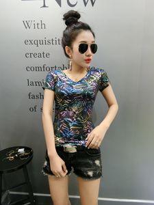 2020 Colorful sparkling t shirt female 2020 summer fashion v neck short sleeve t shirts women european style large size slim tops tee