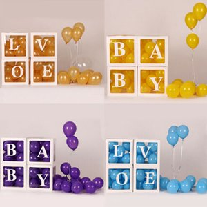 Clear Cardboard Cube Box Plastic Balloon Box Letter Cube Transparent Gift Birthday Party Plastic Case Print Gift