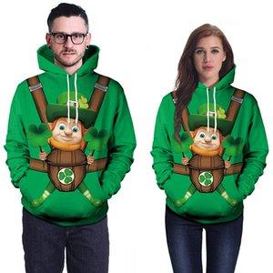 Sweater Günü Tasarımcısı Boyutu ve Büyük Hoodies Çift Yeşil Gevşek St. Patrick'in erkek Kadın Erkek İrlanda Ulusal Günü Kostüm Hoodie Vetem Ckvt