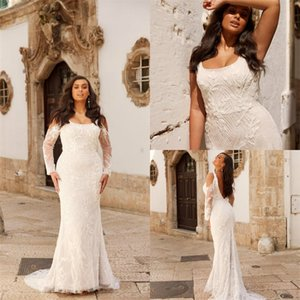 Large Size Beach Wedding Dresses Boho Long Sleeve Sweep Train Sexy Backless Full Appliqued Lace Ruched Bridal Gown Custom Made Bridal Dress