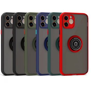 Кольцо стенд держатель автомобиля Scrub прозрачный противоударный чехол для Iphone 11 XR XS MAX 8 Plus Samsung S20 Plus Примечание 20 A11 A31 A21S LG Stylo 6 K51