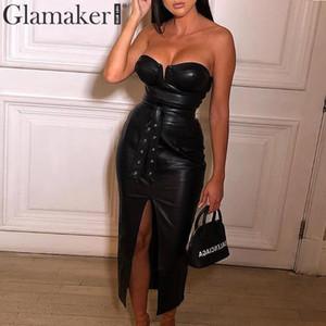 Glamaker Strapless sexy elegant Midi-Kleid Frauen-PU-Leder bodycon hohe Split Partykleid Herbst Club schwarzen langen Kleid Winter Y200107