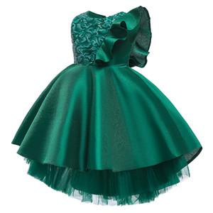 Niña pasarela vestir princesa de las muchachas de lentejuelas vestidos del desfile de un hombro con volantes vestido de los niños