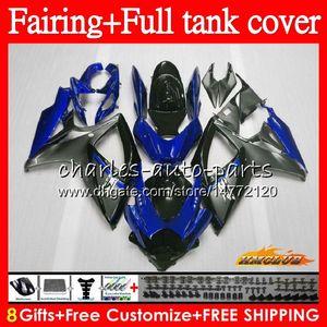 Kit per SUZUKI GSXR600 grigio blu GSXR750 GSXR 600 750 CC 06 07 73HC.129 GSX R750 600cc 750CC GSXR750 GSXR600 K6 2006 2007 carenatura + Serbatoio