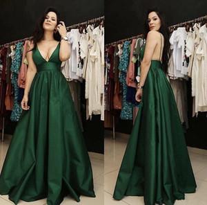 섹시한 녹색 댄스 파티 드레스 2019 스파게티 딥 브이 넥 민소매의 등 이브닝 가운 A 라인 Cheap Bridesmaid Dress Vestidos De Fiesta