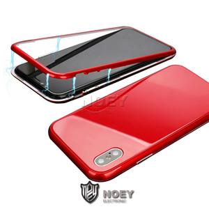 360 Moda Manyetik Telefon Kılıfı iPhone X 8 7 6 Plus Mıknatıs Adsorpsiyon çevirin Kapak PC Tampon temperli cam Cep Telefonu Olaylar İçin