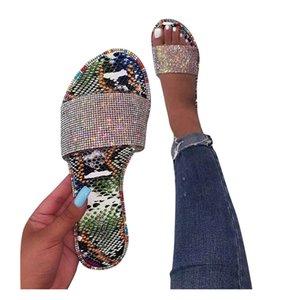 SAGACE terlik kadın Sandalet Roma tarzı köpüklü parlak elmas sandalet Avrupa ve Amerikan yassı ve terlik D11