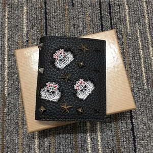 Kuhledermappe Quadrat kurze Brieftasche Niet Schnalle Multifunktionsraum klassische Avantgarde ID Clip Zip-Kreditkarteninhaber Geldbörse