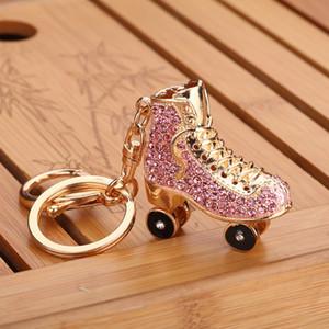 키 체인 롤러 스케이트 신발 크리스탈 키 체인 핸드백 펜던트 키 홀더 모조 다이아몬드 열쇠 고리 열쇠 고리 쥬얼리 액세서리