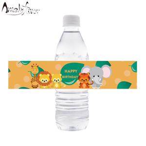 زجاجة سفاري الحيوان المياه تسميات زجاجة الغابة الحيوانية المياه تسميات الاطفال عيد ميلاد الحزب الديكور لوازم استحمام الطفل ديكور