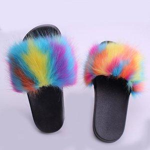 Fashion Women Slippers Faux Fur Sandals Summer Furry Slip On Shoes Outdoor Flip Flops Luxury Platform Flat Slide Slipper Casual Loafers Gift