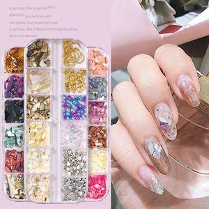 1 Box 3D Natural Abalone Shell Irregular Nail Art Decorations UV Gel Flake Slider Nails Shimmer Pearl Jewelry Tips Manicure
