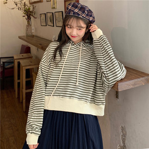 2020 high quality Lazy style BF loose thin stripe Hoodie women's long sleeve T-shirt with cotton in autumn and winter Free shipping