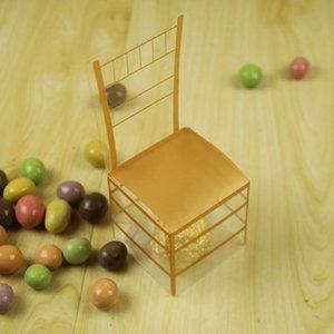 Золотого стул PVC Transparent Candy Box Фавор Подарочная коробка Свадебный Box Baby Shower Коробка благосклонности венчания и подарки