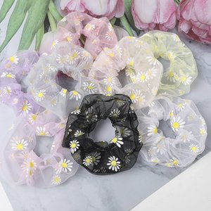 Lace Mesh Scrunchies Women Floral Scrunchie Elastic Hair Bands Girls Headwear Rubber Hair Ties Ponytail Holder Hair Accessories