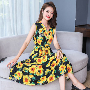 2020 new women's long middle-aged mother summer sleeveless sling floral dress faux cotton silk dress