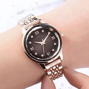 Aço IBSO Mulheres Relógios Top Rose Gold Relógios Mulheres inoxidável Quartz Relógio de pulso das senhoras Relógio Montre Femme