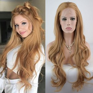 Natural Looking Blonde Long Loose Wavy Hair Cheap Synthetic Lace Front Wig Baby Hair Heat Resistant Synthetic Hair Wigs for Women