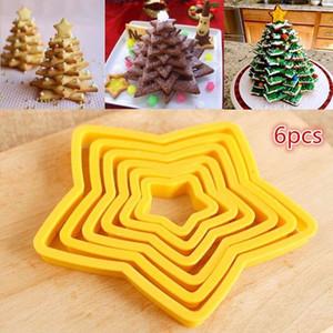 DIY Pentagram Cookies Molde de plástico de cinco puntas Forma de estrella Cookies Herramientas para hornear 6 unids / set Herramientas para hornear de Navidad
