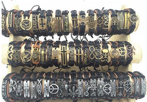 Band New Vintage Leather Mens Womens Surfer Bracelet Cuff Wristband 50pcs lots Mixed Style Retro Jewelry Charm Bracelet