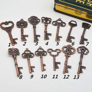 زجاجة الفتاحات مفتاح شكل زجاجة فتاحة سلسلة الصلب مفتاح برونزية فتاحة زجاجات العتيقة ريترو فتاحة EEA1619