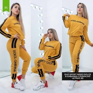esporte Designers Mulheres terno Rodada pescoço suéter + Pant Pista de Corrida Esporte terno 2 Pieces corrida conjuntos survêtement femme roupas