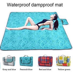 Foldable Portable Leisure Waterproof Outdoor Picnic Mat Pad Beach Camping Blanket Baby Climb Plaid Blanket Crawler Pad Family Plaid Blanket