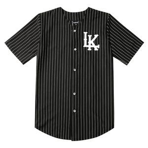 2019 핫 Selled 남성 T 셔츠 패션 스트리트 힙합 야구 저지 스트라이프 셔츠 남성 의류 타이가 마지막 왕 의류 블랙