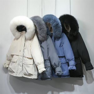 Зима Женщины вниз ветровки Real Natural Fox Fur с капюшоном вниз Тонкое пальто Parka Женских Толстым теплым белым утка вниз куртка