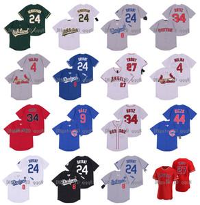 2020 Nuovo 8 24 Bryant Jersey 4 Yadier Molina 27 Mike Trout 24 Rickey Henderson 9 Javier Baez 34 David Ortiz 44 Anthony Rizzo pullover di baseball