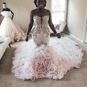 Plus Größe Meerjungfrau Brautkleider 2020 Perlen Applizierte Tiered Röcke Trompete Brautkleider Strand Vintage Rosa Hochzeitskleid