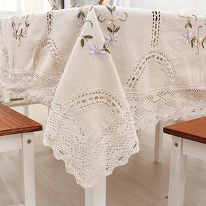 Cotton Linen Classica Tablecloth Hand Crocheted Embroidered Lace Hem European Style Cover Washable Table Cloth for Tea Table Y200421