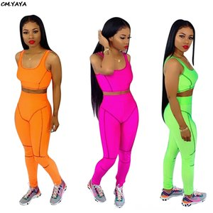 2019 new women summer striped splicing short tank top skinny pants suit two piece set sporting fashion tracksuit overalls CM574