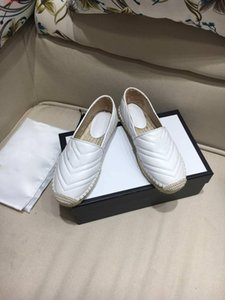 Fashion Italy Designer matelass Chevron Leder Cord Platform espadrille 2019 Frühjahr-Sommer-heiße Verkäufe Doppel Hardware beiläufige Slip on loafer