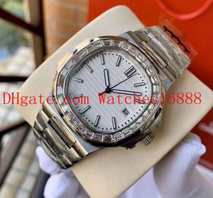 Mens New Алмазная сталь Дата Watche Nautilus белый циферблат 5711 / 1A-010 Asia Механизм Автоматическая Мужские часы Прозрачная задняя крышка