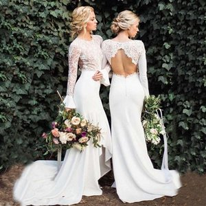 Bohemian Lace Country Wedding Bridesmaid Dresses Long Sleeve 2020 Sexy Backless White Mermaid Maid Of Honor Formal Party Guest Dress AL6421