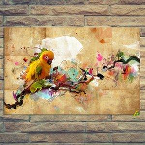 추상 예술 페인트 앵무새 조류 유화 캔버스 현대 벽 그림 거실 Cuadros 장식 190911