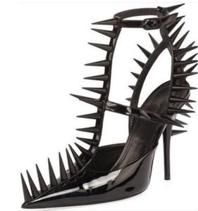 Venta caliente-Remaches Mujer Punk Galdiator Sandalias Punta estrecha Negro Blanco Rojo Charol Moda Mujer Correas Sandalias Zapatos de tacón Mujers