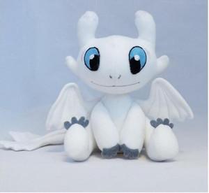 Desdentado bebé GUANGSHA juguete de la felpa furia de luz blanca muñeca dragón 25cm Blanca la noche del juguete de la felpa de TV