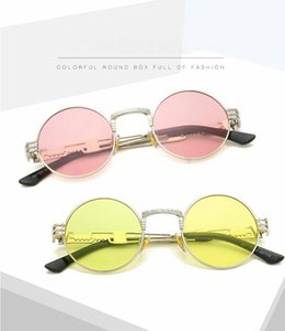Hot Men Women Fashion Sunglasses Punk Trend Metal Frame Shade Glasses Round Yellow Lens Outdoor Ocean Beach Wind Eyewear With Box