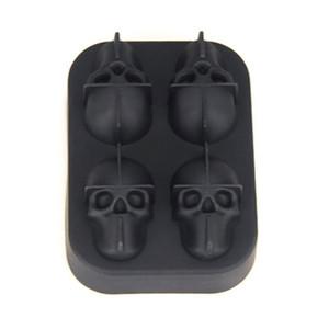 Crâne silicone noir 3D Head Ice Cream Cube Moule Machine à glace Faire boule moule Maker moule Plateau réutilisable Outils de cuisine