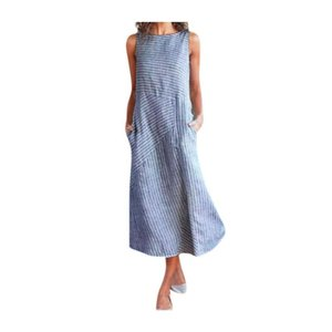 Women's Round Neck Striped Sleeveless Pocket Dress Girls A-Line Summer Casual Vintage Beach Party Dresses