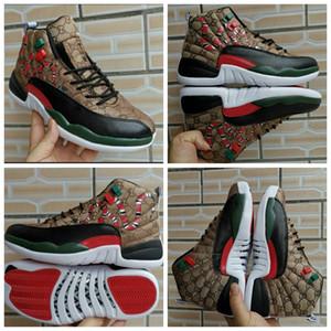 nike Air Jordan 12 Mid AJ12 gucci shoes 12 GS Generation von Snake schwarz Braun Rot retro Männer Basketball Schuhe 12 s Herren Snakeskin Multicolor Sport Designer Turnschuhe 7-13